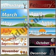 Названия месяцев, дней недели и времён года на английском языке